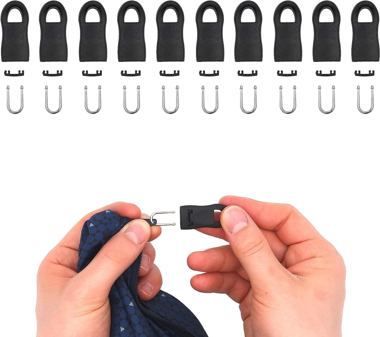 Remolque de cremallera para reparación, 10 unidades, 35 mm de longitud, encajable, cremallera de repuesto para cremallera, tirador para abrigos, maletas, vaqueros, bolsos, solapas con cremallera