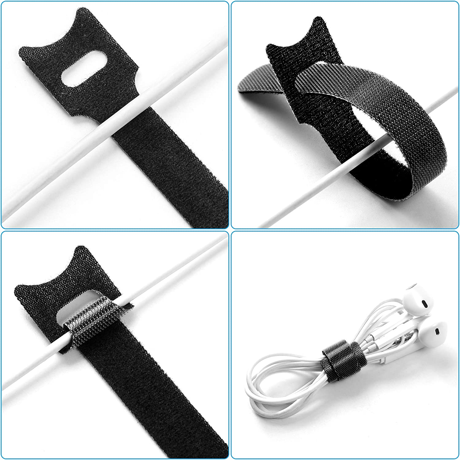 80 Pcs Cable Ties Reusable Cable Straps Adjustable Cable Tidy Ties for Desks Wrap Hook /& Loop White//Black
