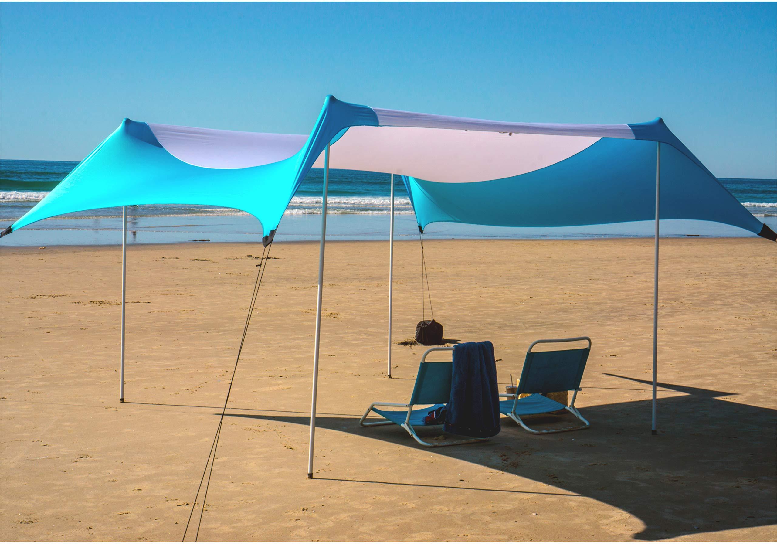 Fofana Cabana Beach Canopy - 10x10 Foot Beach Shade | Beach Tent with Sandbag Anchor | Extra Large Family Size Beach Sun Shelter with 4 Poles | UV Protection UPF50 by Fofana