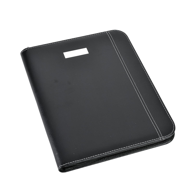 Arpan - Cartelletta portadocumenti in pelle con cerniera, per convegni, con calcolatrice e blocco note, formato A4, colore: nero