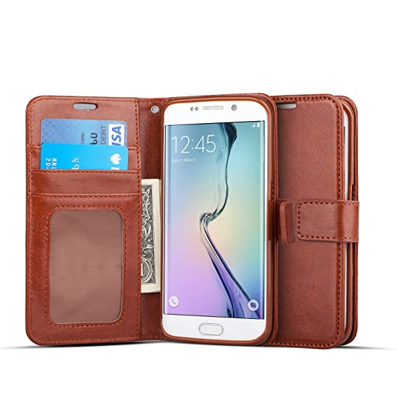 wholesale dealer 1430b 853fe J&D Case Compatible for Galaxy S6 Edge Case, [Wallet Stand] [Slim Fit]  Heavy Duty Protective Shock Resistant Flip Cover Wallet Case for Samsung  Galaxy ...