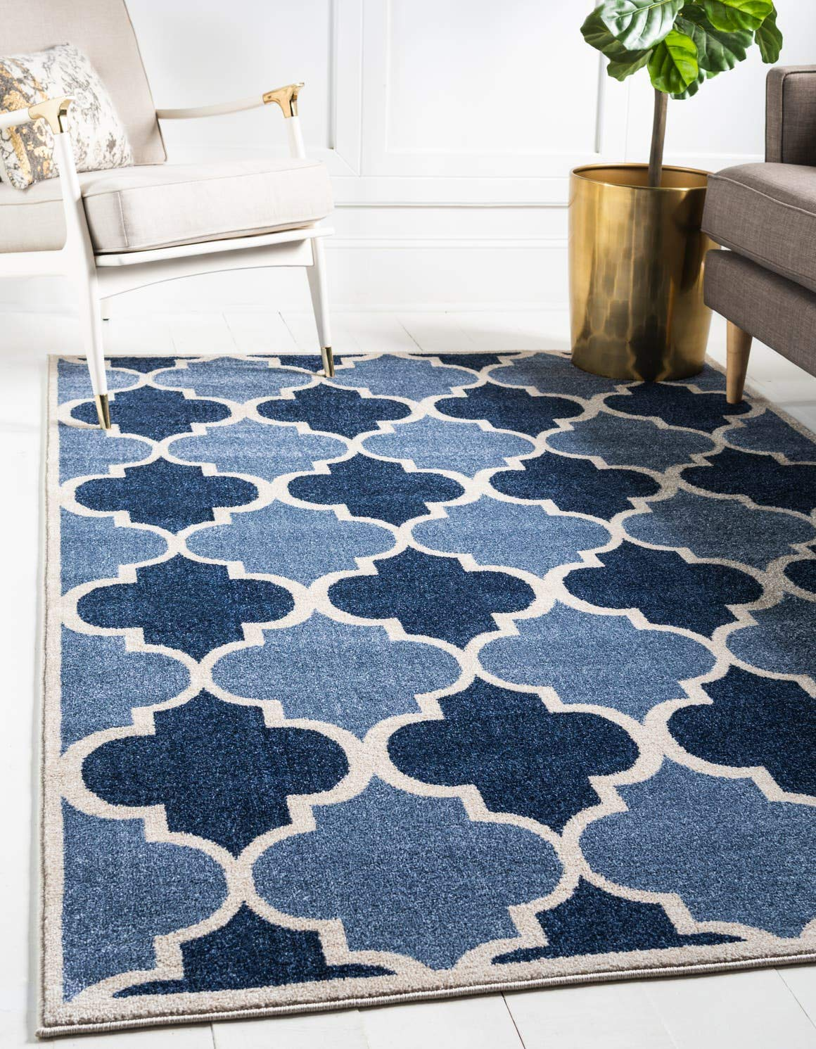 Unique Loom Trellis Collection Moroccan Lattice Light Blue Area Rug 5 0 x 8 0