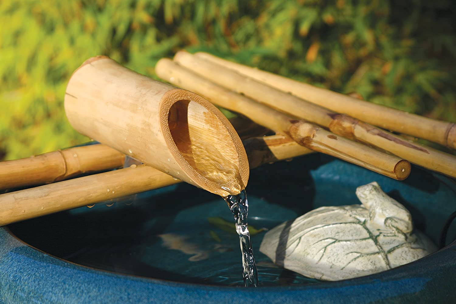Bamboo Accents Water Fountain Spout, Complete Kit includes Submersible Pump for Easy Install, Handmade Indoor/Outdoor Natural Split-Free Bamboo (Five Arm Design - 12 Inches)