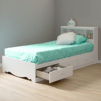 Amazon.com South Shore Crystal Collection Twin Storage Bed Pure White Kitchen u0026 Dining & Amazon.com: South Shore Crystal Collection Twin Storage Bed Pure ...