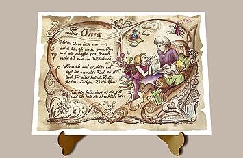 Geschenk Oma Gedicht Zeichnung Color 20 X 15 Cm Mit Aufsteller