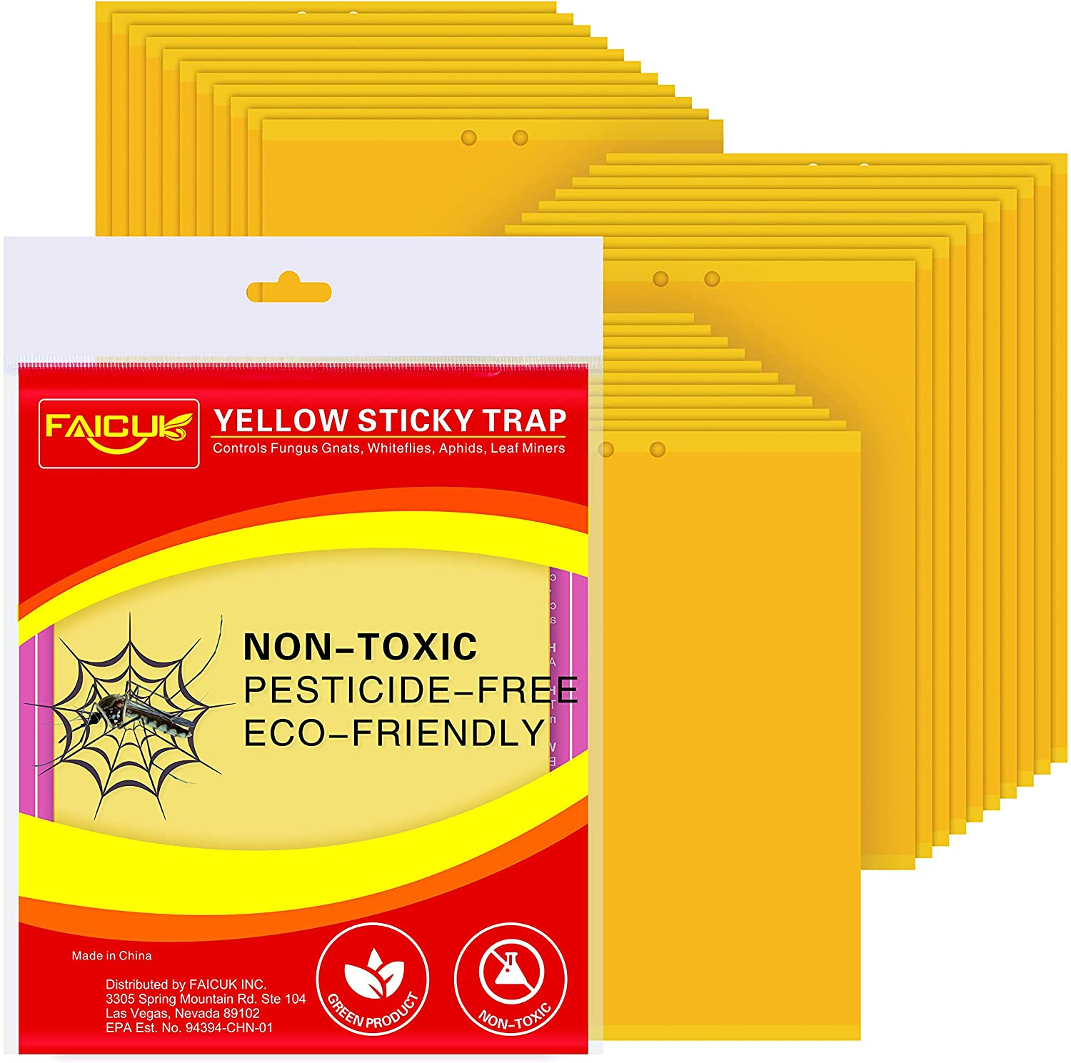 Faicuk Yellow Dual-Sided Sticky Fly Traps for Plant Insect Like Aphids, Fungus Gnats, Leaf Miners and White Flies (30 Pack)
