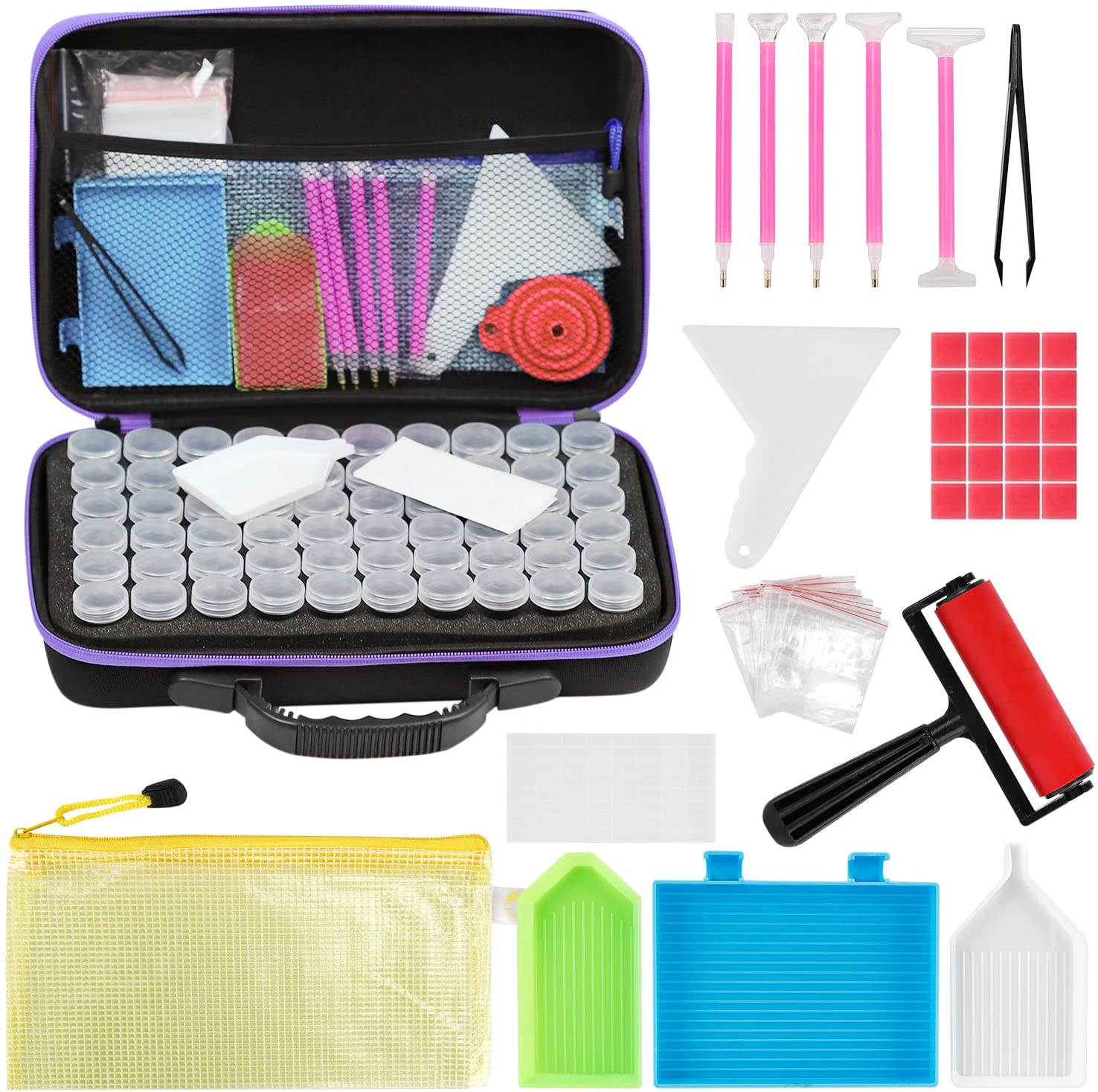 Toolly EVA 60 Slots Diamond Embroidery Painting Storage Case Purple Diamond Art Accessory Organizer Jewelry Beads Sewing Pills Shockproof Container Holder Clear Plastic Diamond Embroidery Box