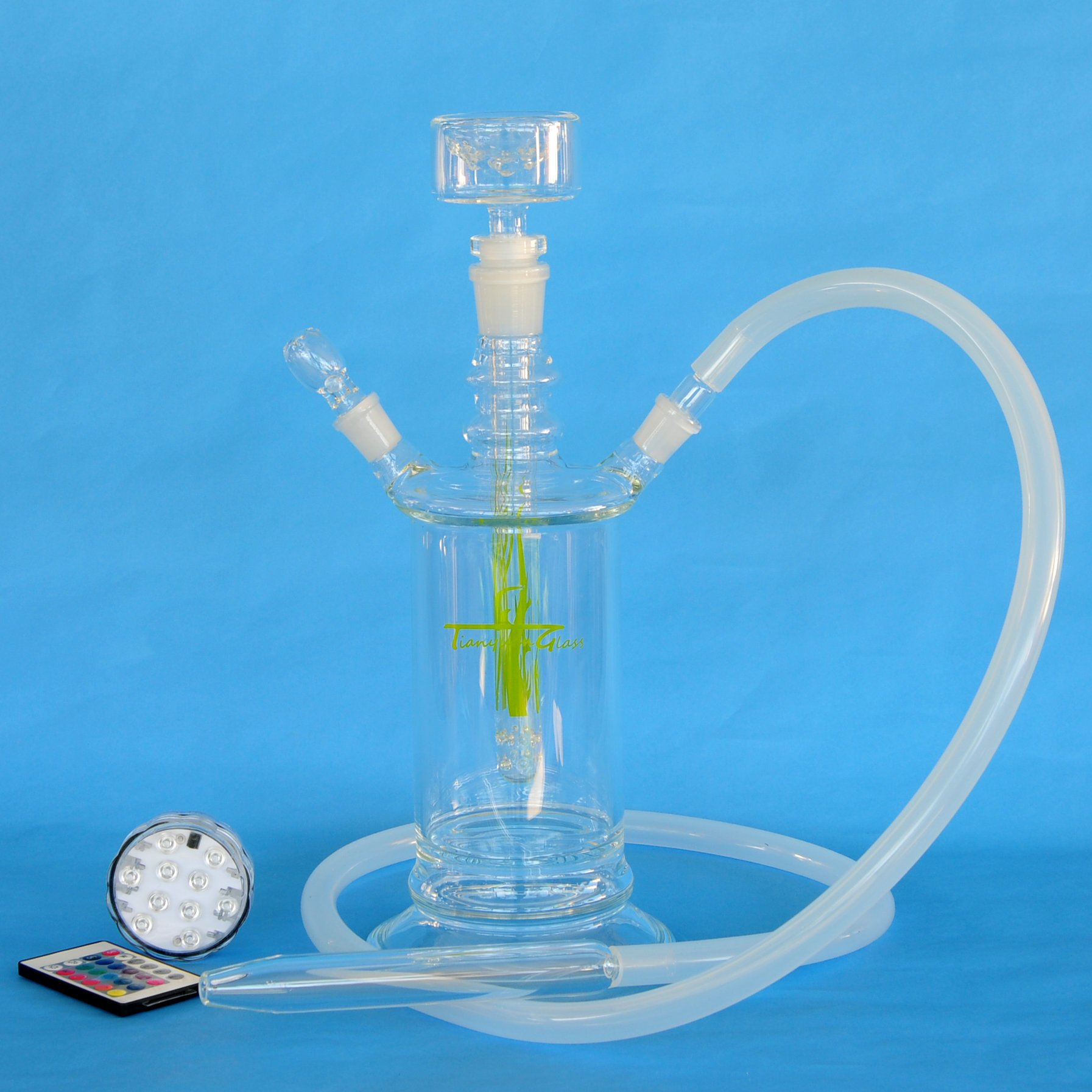 Tianyuan Glass All Glass Hookah Shisha 14'' with 4 Colors LED Light Base and Travel Code Case, Light Green (TY-HK15-CH)