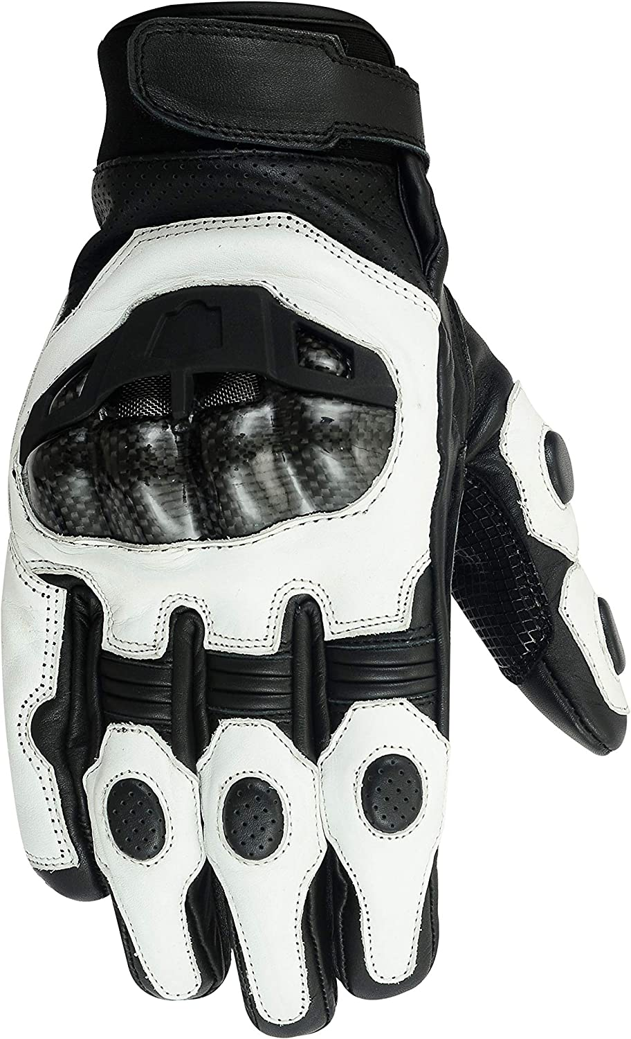 3 Colours Available Texpeed KP Mens Short Cuff Leather Motorcycle Gloves with Protection