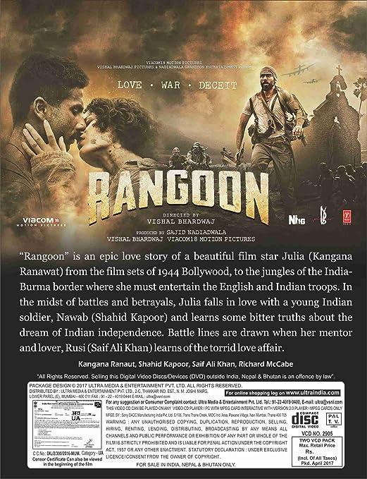Amazon in: Buy Rangoon Hindi Movie VCD DVD, Blu-ray Online