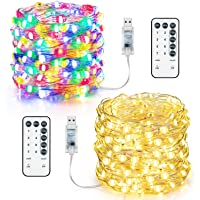 2-Pack MAXvolador USB LED Warm White String Lights with Remote