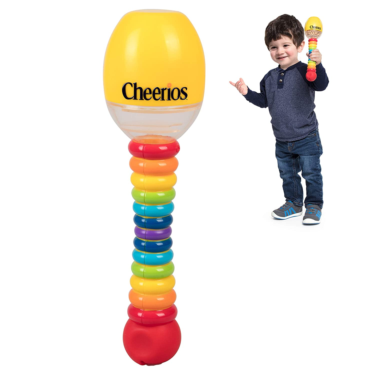 Cheerios Maraca Shake 'N Snack Baby Snack Food Container- Toddler Spill Proof Feeding Dispenser- Make Music Shaking and Snacking - BPA Free, PVC Free, Dishwasher Safe