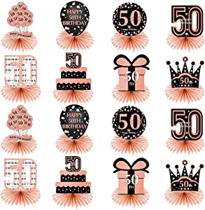 16 Pieces 50th Birthday Decorations Table Honeycomb Centerpiece for Women - Happy 50th Birthday Party Table Centerpieces Supplies - Rose Gold 50 Years Old Birthday Table Sign Decor