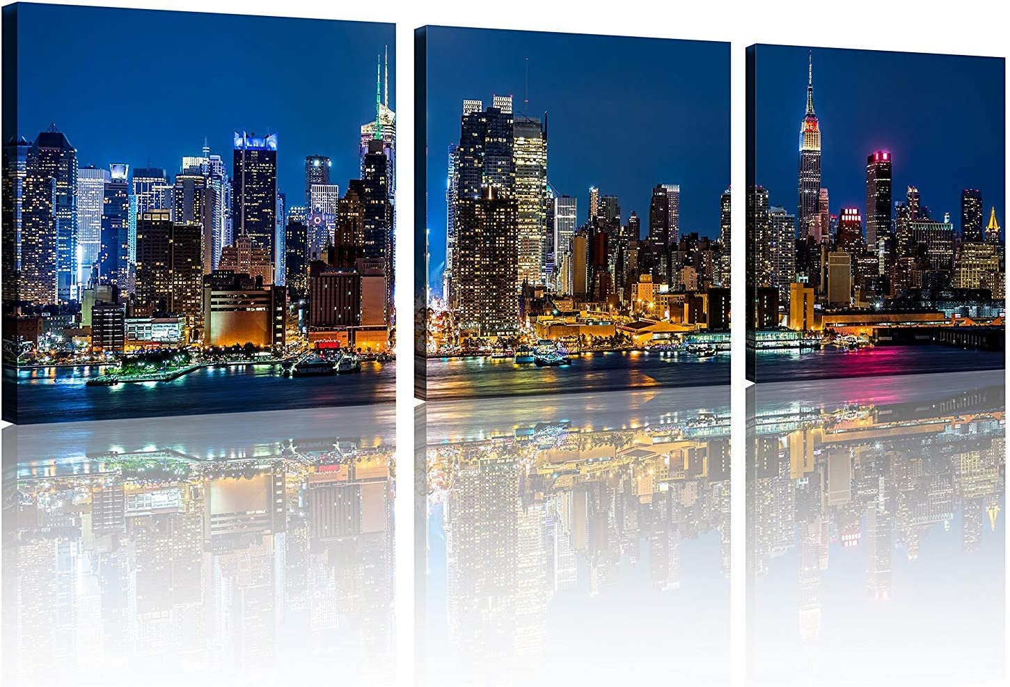 Amazon Com Tutubeer 3 Panels New York Home Decor Beautiful New York City Skyline New York Night Light Prints On Canvas New York Decor For Home Cityscape Picture New York Decor For Home