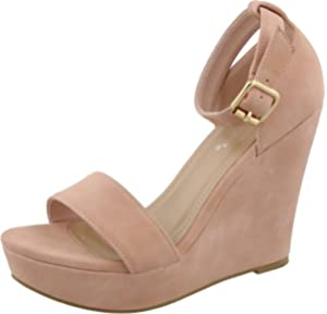 7c02a45a3c6 Top Moda Womens Beryl-1 Platform Wedge Fashion Sandals with Ankle Strap