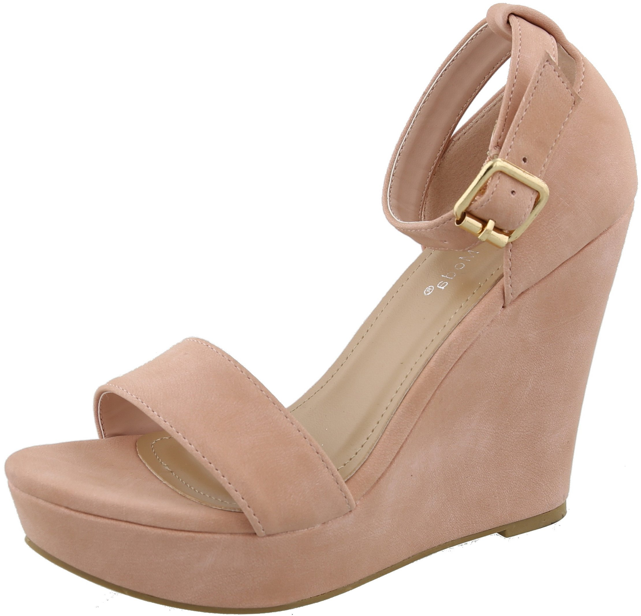 Top Moda Womens Beryl-1 Platform Wedge Fashion Sandals with Ankle Strap | Wedge Heels | Blush 10