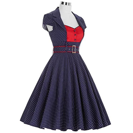 Trendy-Nicer Elegant Partys Sexy Robe Rockabilly 1950s 60s Vestidos Retro Polka Dots Dress Dresses, 1, L at Amazon Womens Clothing store: