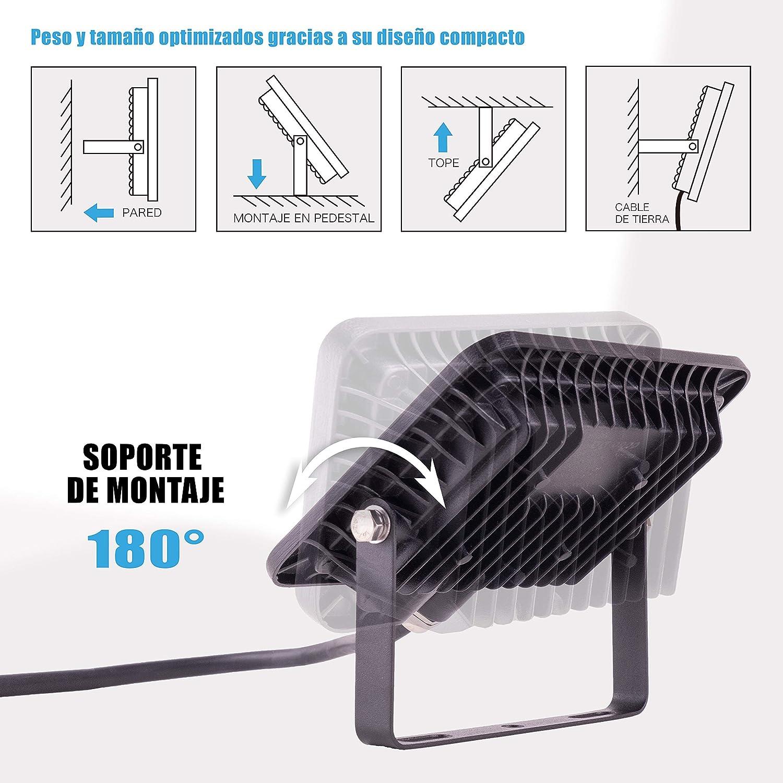 POPP® Foco Proyector LED 50W para uso Exterior Iluminación ...