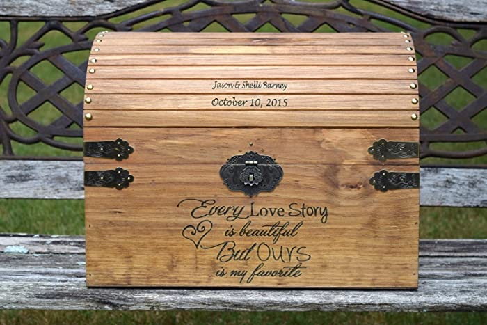 Amazon.com: Extra Large Wedding Card Chest - Rustic Wooden Card Box ...