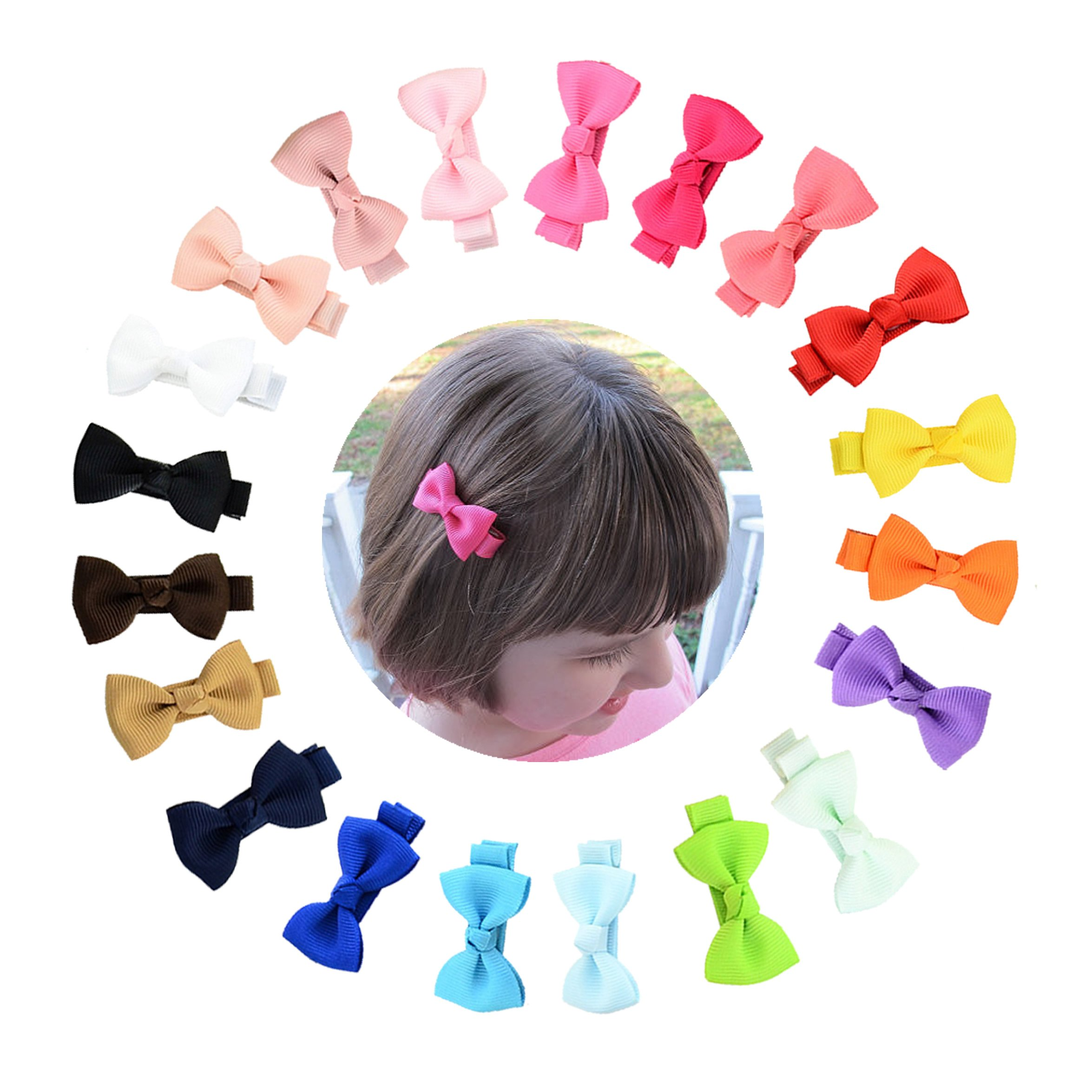 inSowni 2'' Bow Snap Alligator Hair Clips Pins Accessories for Baby Girl Toddlers