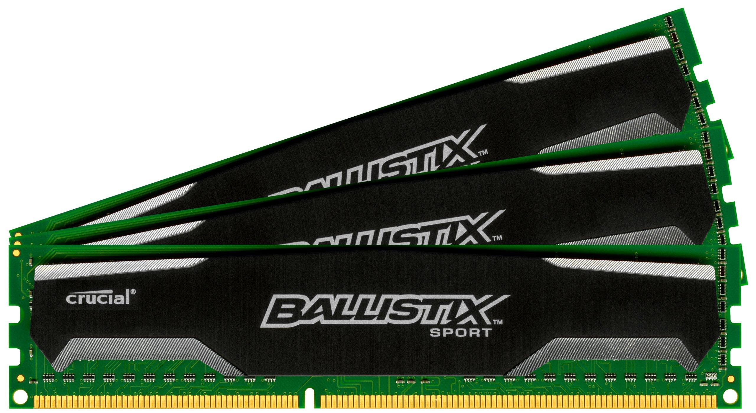 Ballistix Sport 12GB Kit (4GBx3) DDR3 1600 MT/s (PC3-12800) UDIMM 240-Pin Memory - BLS3KIT4G3D1609DS1S00