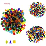 Mosaic Tiles Mixed Color Mosaic Glass Pieces for Home Decoration or DIY Crafts 1000 Pieces Mixed Shape