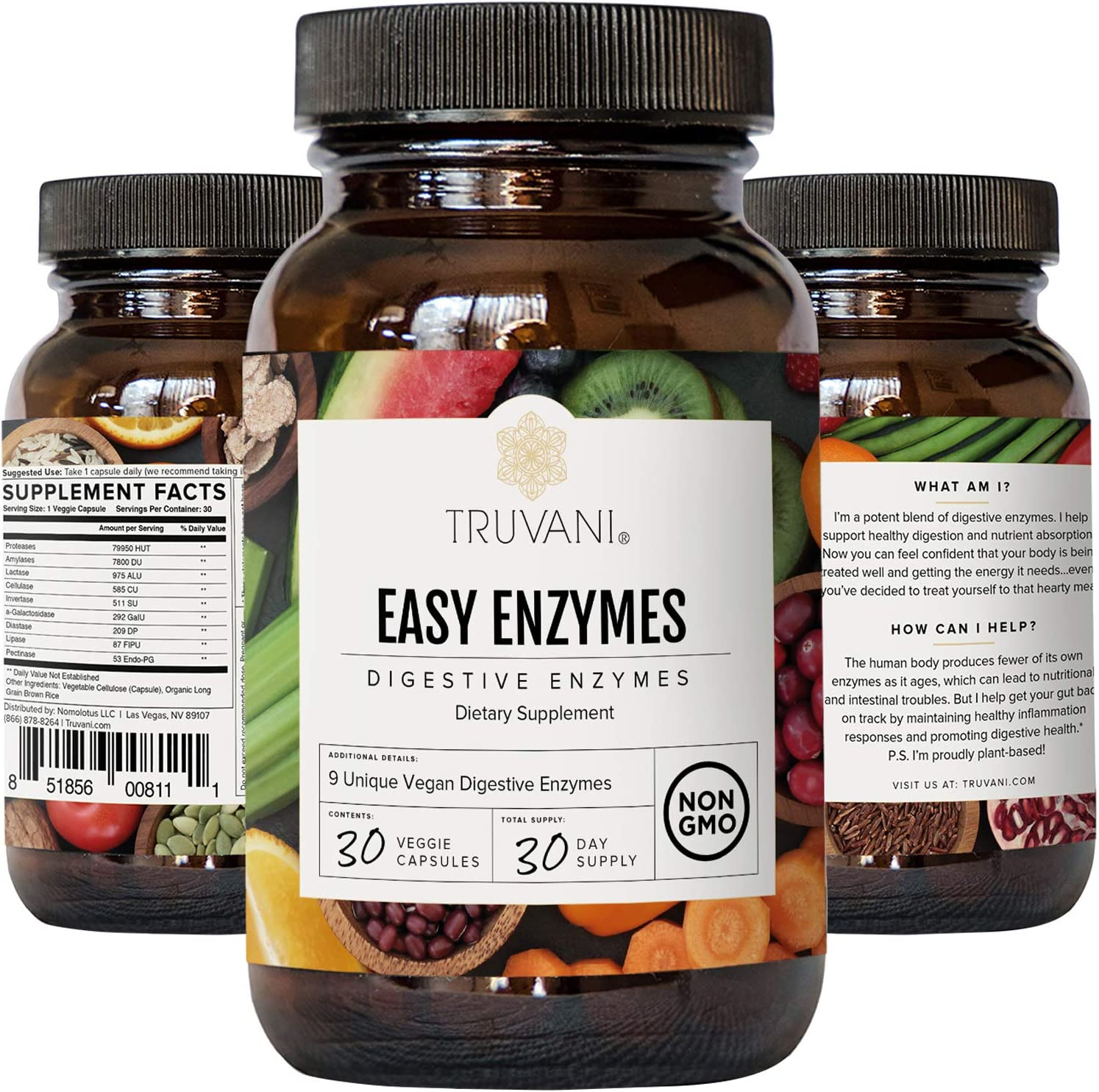 Truvani Digestive Enzymes | 9 Enzyme Blend | Digestive Support | Reduce Bloating | Increased Nutrient Absorption | Non-GMO Capsules| 30 Day Supply