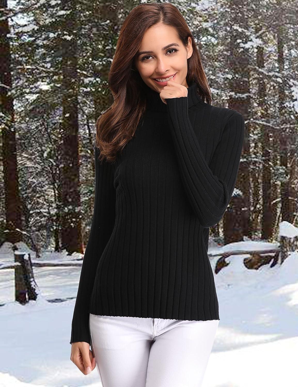 Abollria Womens Long Sleeve Solid Lightweight Soft Knit Mock Turtleneck  Sweater Tops Pullover AMN00056 best Christmas gift 7505f7ec5