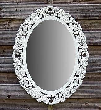 amadeco Wandspiegel Spiegel Oval Barock Gothic als Badspiegel  Frisierspiegel Schminkspiegel - Farbe Weiß - aus Holz - LandhausStil  Vintage Shabby Chic ...