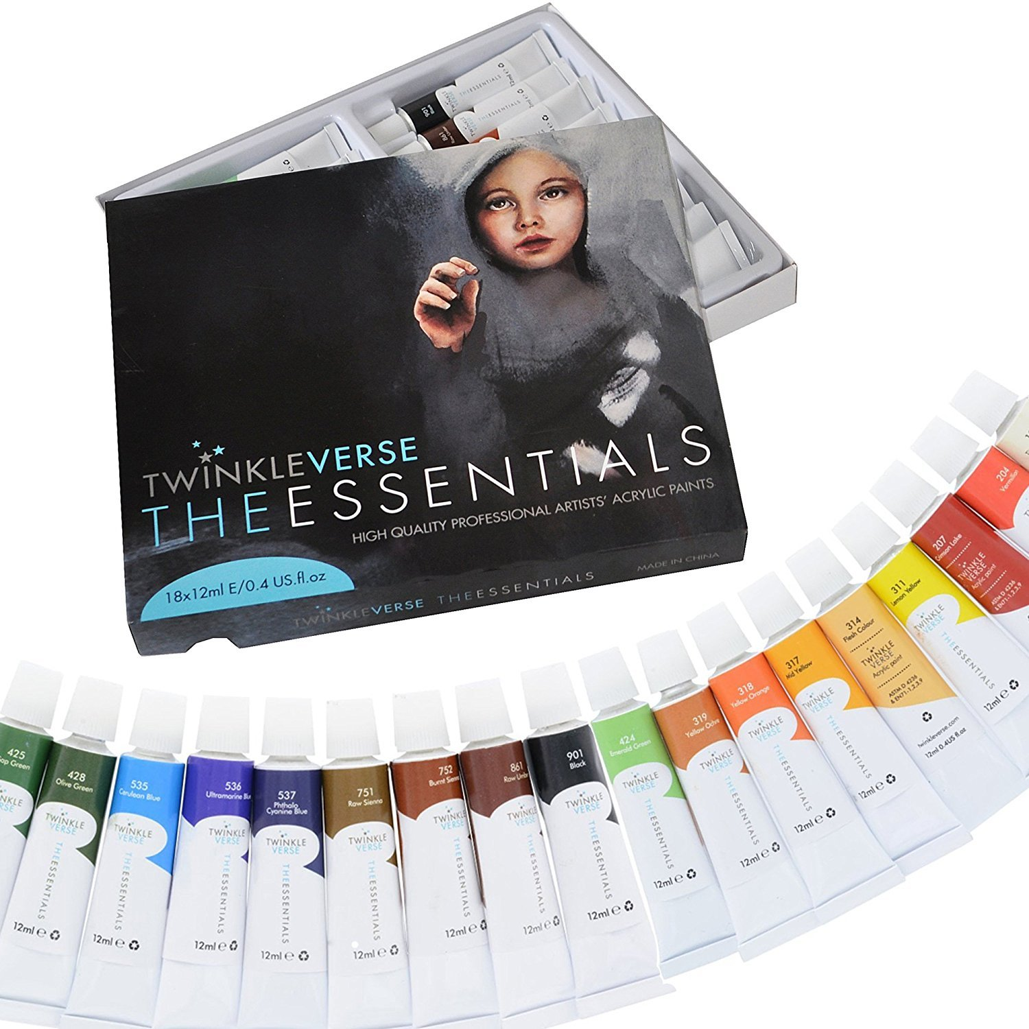 Acrylic Paint Set - 18 Artist Quality Acrylics - Canvas Paints, Arts and Craft Paint and Hobby Paint 820103132282 3445957