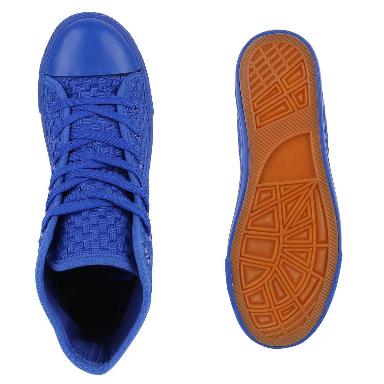 Stiefelparadies Unisex Damen Herren Blau Sneaker high Übergrößen Flandell Blau Herren Karo 2038cb