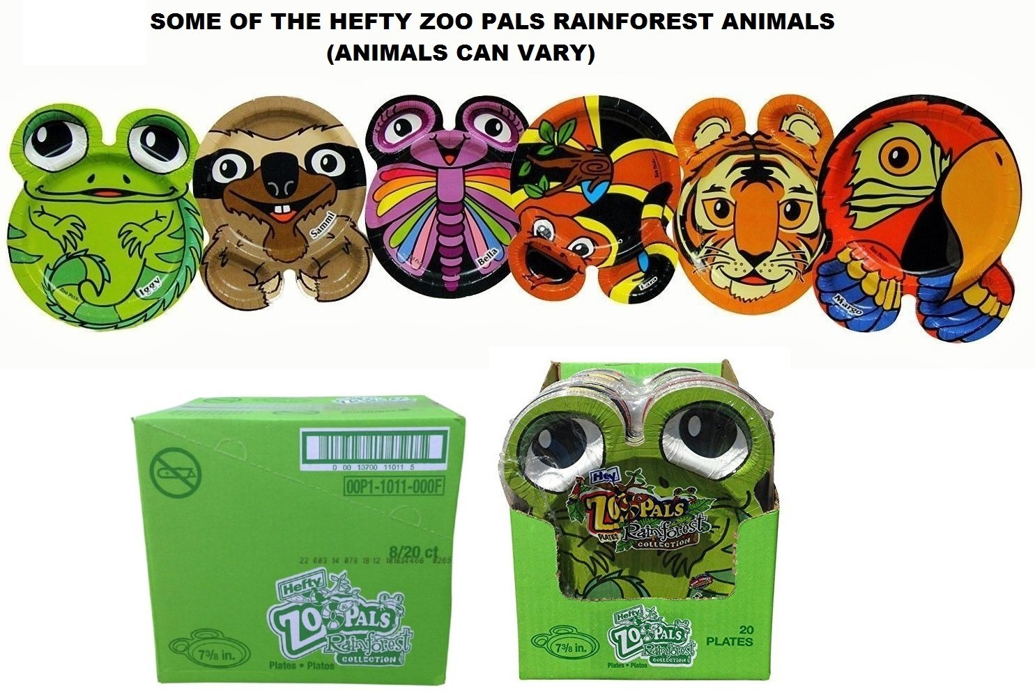 Hefty Zoo Pals Rainforest Paper Plates-20 ct, 7.375 inch (Case of 8) =160 Plates (Discontinued by Manufacturer)-Animals Can Vary by Hefty