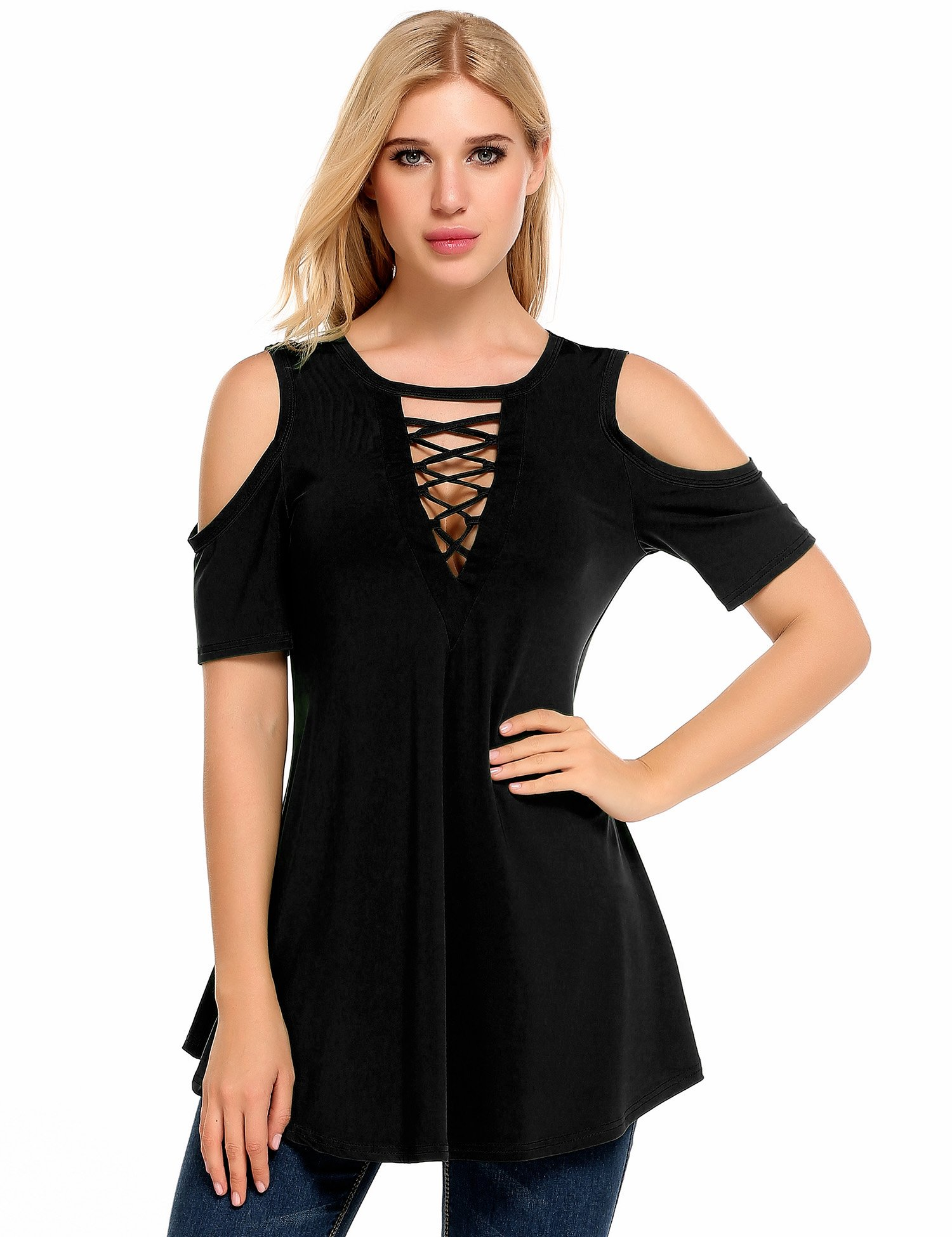 aac2cbe30492ec Zeagoo Womens V-Neck Short Sleeve Cut Out Shoulder Top Black 3X ...
