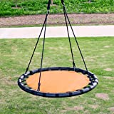 "Clevr 40"" Round Tire Outdoor Toys Saucer Teslin Tree Swing with Detachable 360 Degree Spin Swivel Hanging Hardware & Adjustable 71"" Height Rope, 600 lbs. Limit - Orange Black"