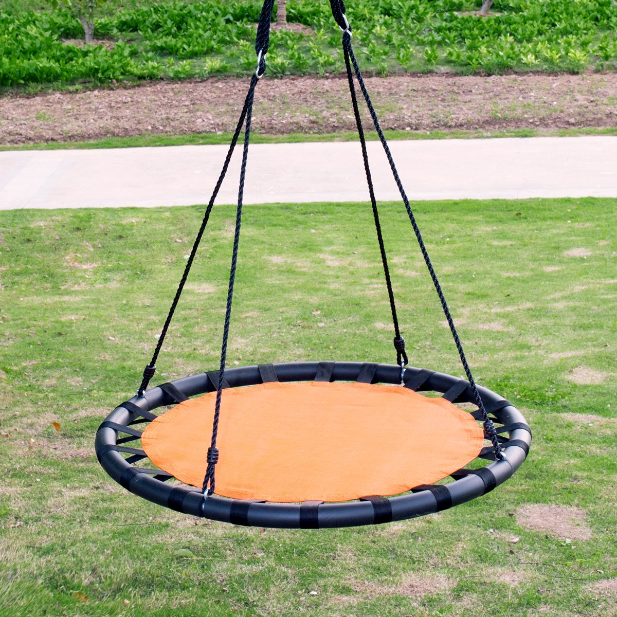 Clevr 40 Tree Net Teslin Web Saucer Round Swing, Detachable 360 Degree Spin Swivel Hanging Hardware Adjustable 71 Height Rope, 600 lbs Limit, Orange Black