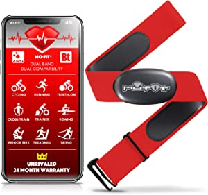 "Mo-Fit Heart Rate Monitor Chest Strap for Garmin, Apple, Android, Peloton, Zwift, ANT+ and Most Bluetooth 4.0 Enabled Fitness Devices (M-XXL: 26""-39"") Red"