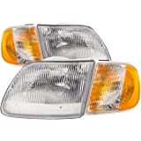 Headlights Depot Replacement for F150 / EXPEDITION 4PC HEADLIGHT SET