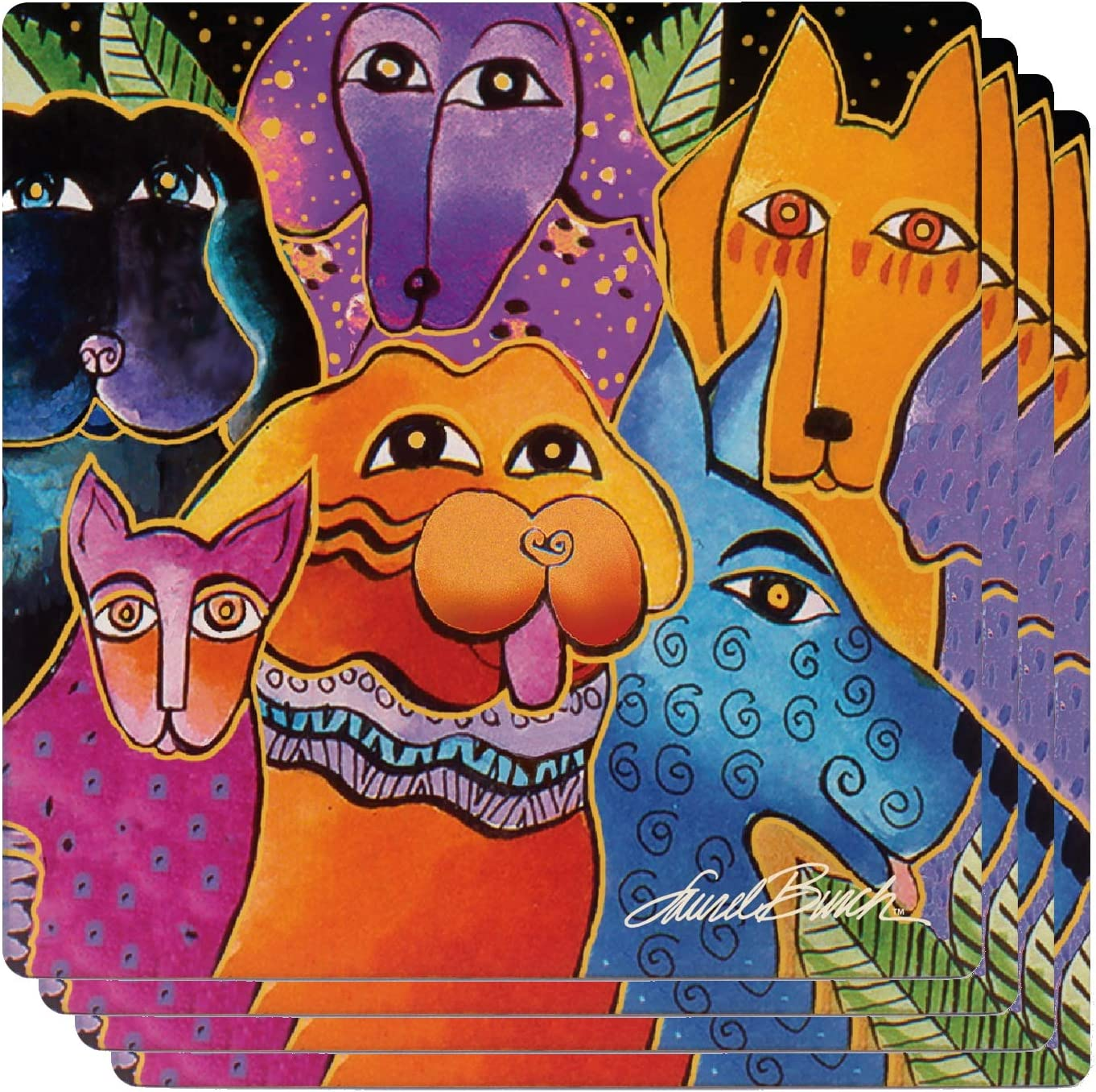 Monarque Ceramic Drink Coasters Set Of Four Laurel Burch Dogs And Doggies Coasters