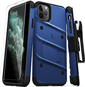 ZIZO Bolt Series iPhone 11 Pro Max Case - Heavy-Duty Military-Grade Drop Protection w/Kickstand Included Belt Clip Holster Tempered Glass Lanyard - Blue