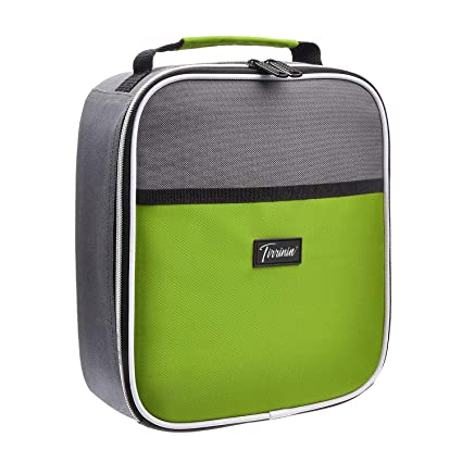 3c7e0de8ca6e Small Insulated Lunch Bag, Mini Thermal Portable Cooler Lunch Box Tote with  Dual Zipper Closure for Men and Women, Green
