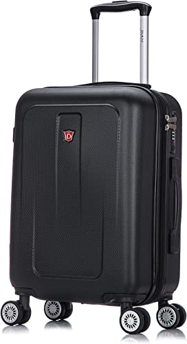 DUKAP Luggage - Crypto Collection - Lightweight Hardside Spinner 20 Inches Carry-On - Black - Suitcases with Wheels