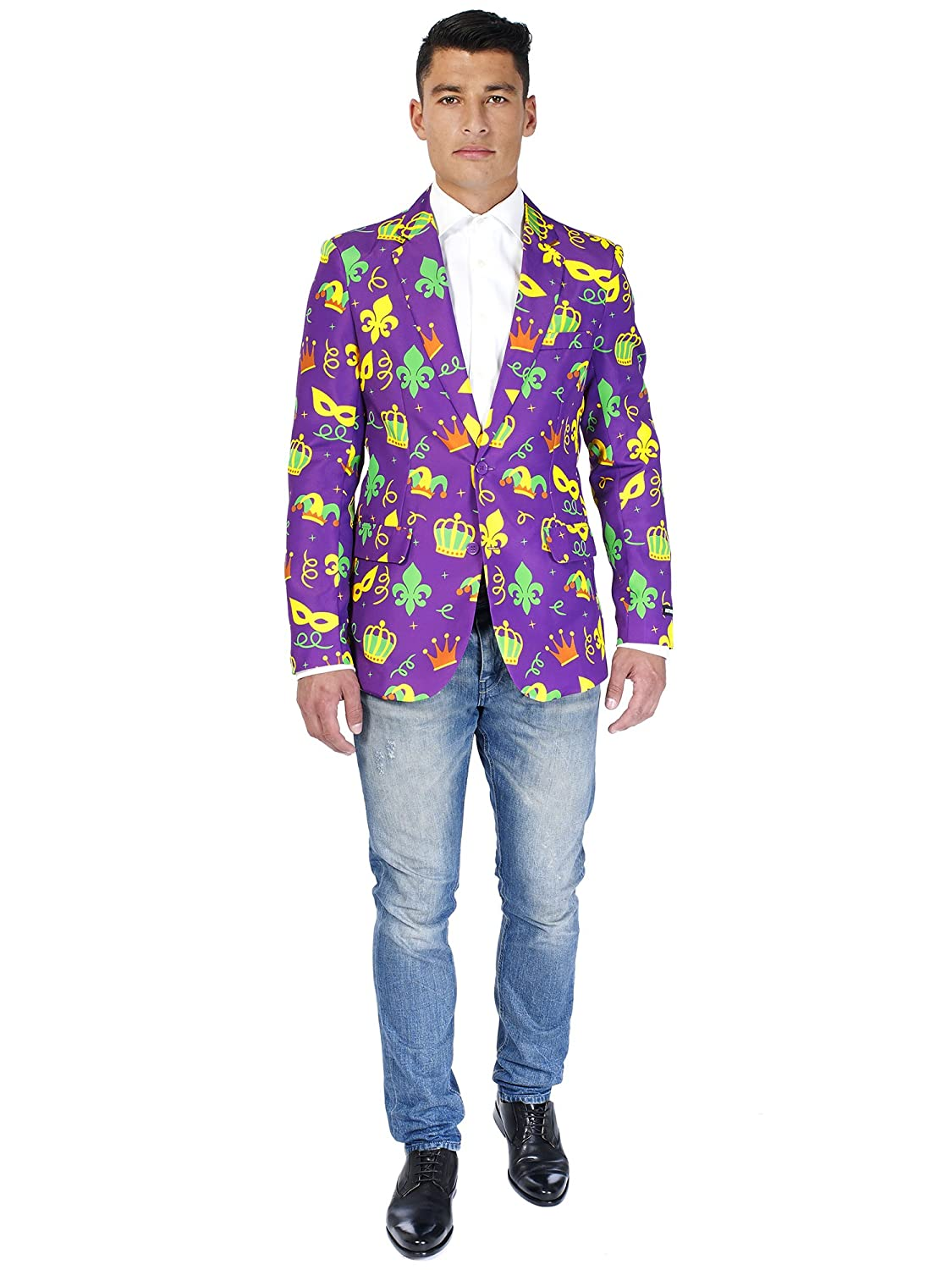 54655cad2d1a Amazon.com: Suitmeister Purple Mardi Gras Long Sleeved Jacket with Funny  King Print of Fabric, Perfect for Carnival – 100%: Clothing