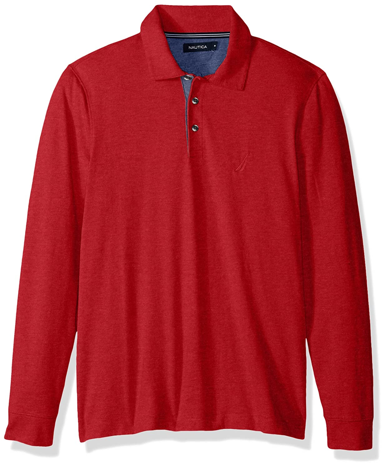 Nautica Men's Long Sleeve Cotton Blend Jersey Piece Dyed Polo K73150