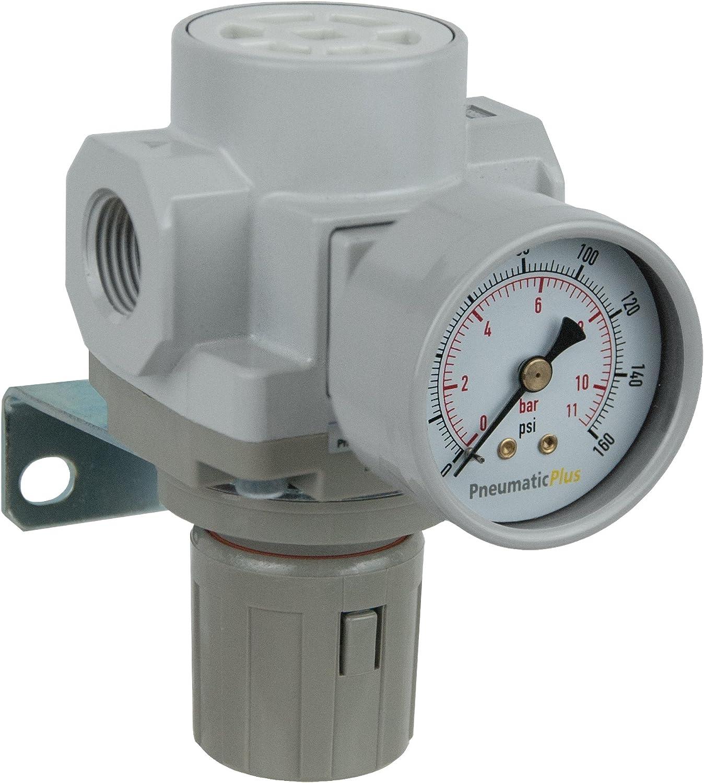 Bracket PneumaticPlus SAR400-04BG Compressed Air Pressure Regulator 1//2 BSPT Gauge