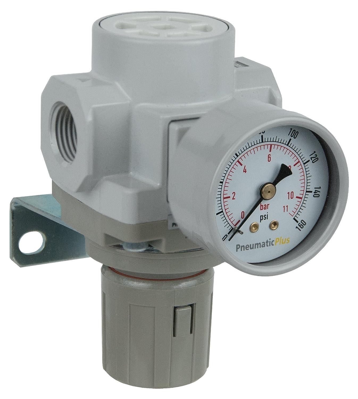 Pneumaticplus Sar400 G04bg Druckluft Druckregler 1 2 Bspp Halterung Gauge Grau Gewerbe Industrie Wissenschaft