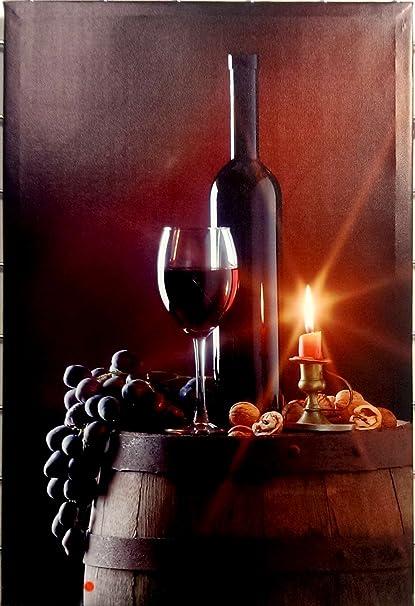 Romántico LED luces para botella de vino y cristal cuadros en lienzo (61 x 41