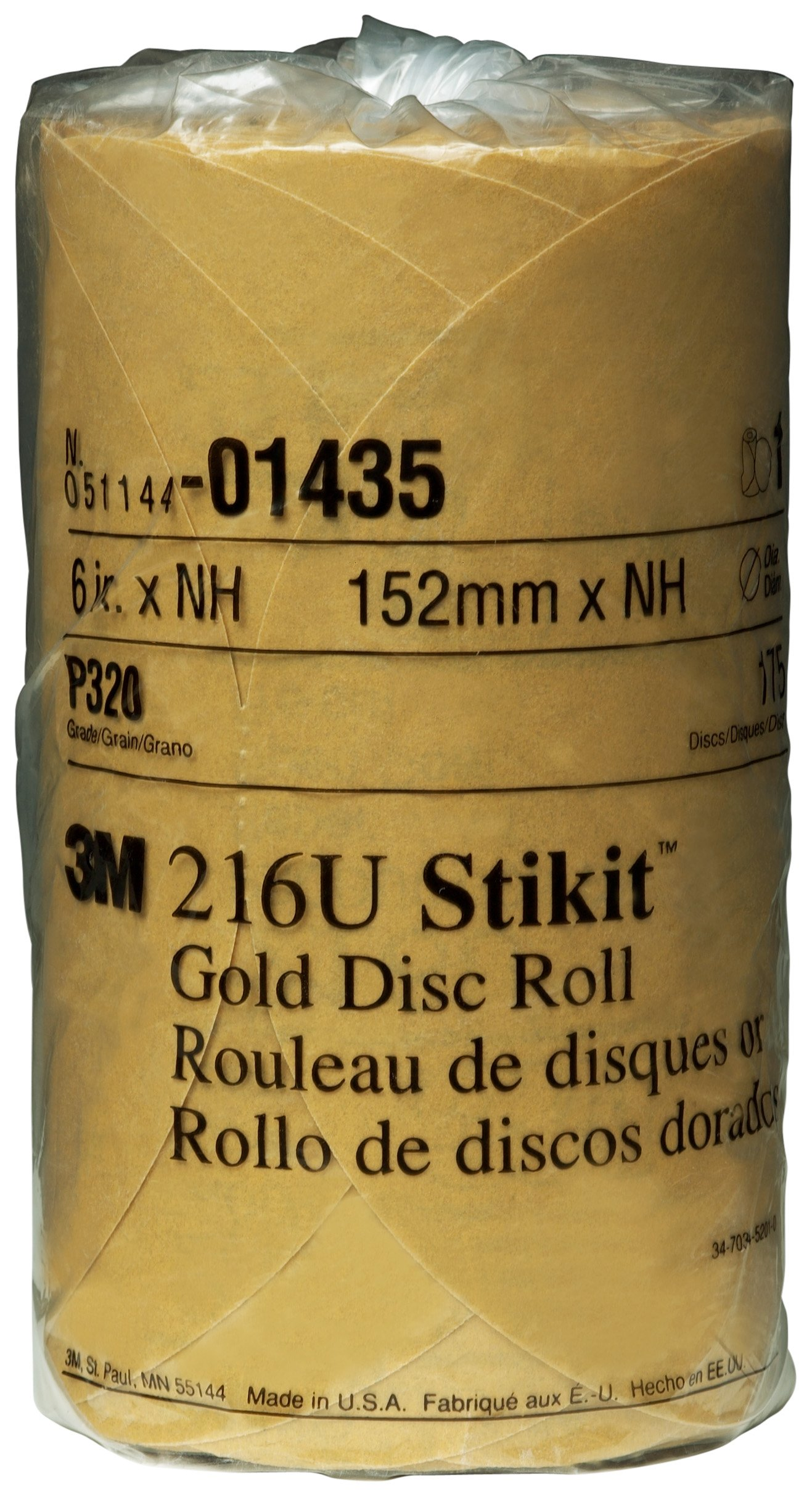 3M 01435 Stikit Gold 6'' P320A Grit Disc Roll (Pack of 6)