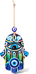 Glass Blue Hamsa Wall Art Home Blessing Wall Hanging Decor With Evil Eye and Lucky Fish Amulet