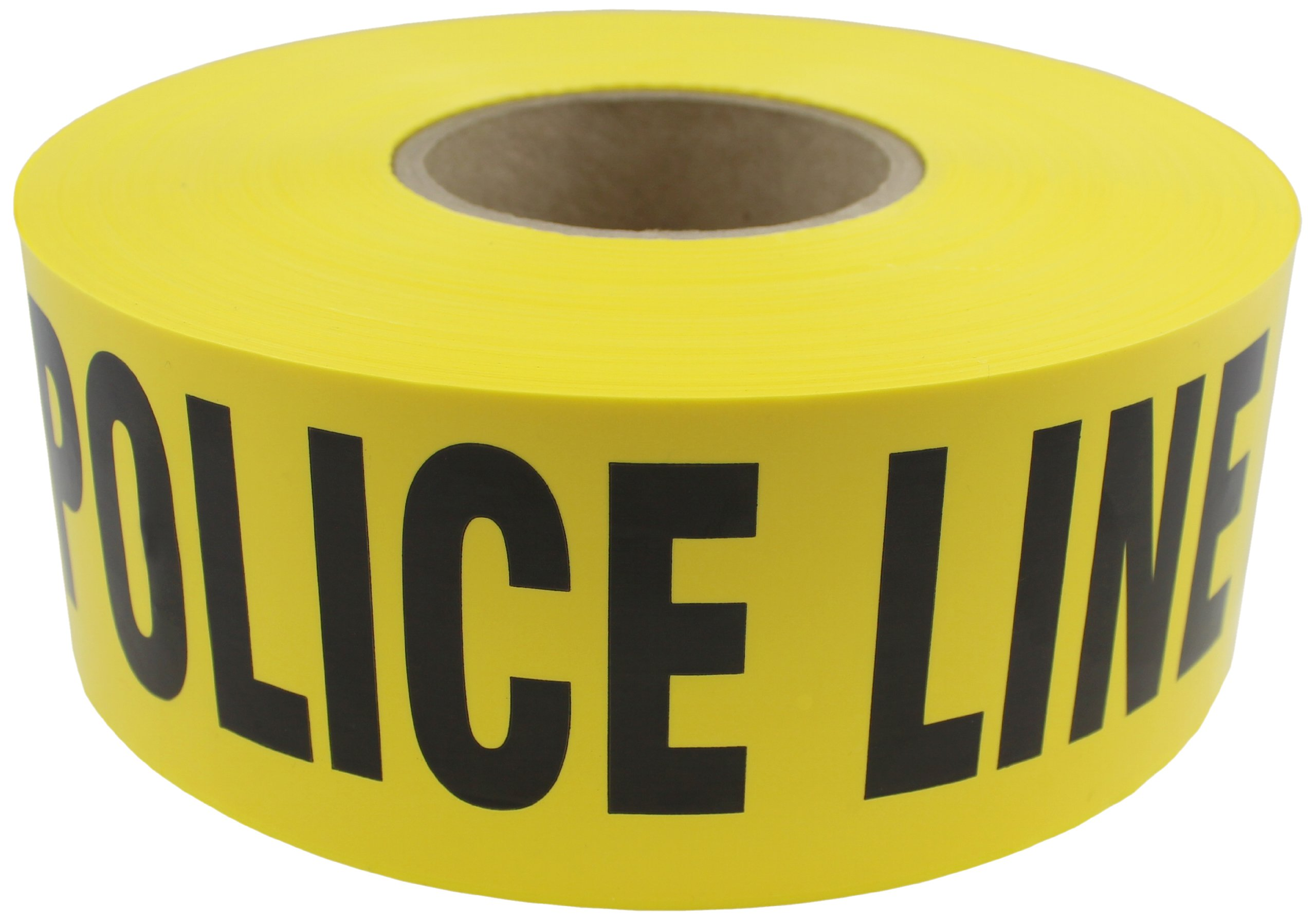 Presco B3102Y11-658 1000' Length x 3'' Width x 2 mil Thick, Polyethylene, Yellow with Black Ink Barricade Tape, Legend ''Police Line Do Not Cross'' (Pack of 8)