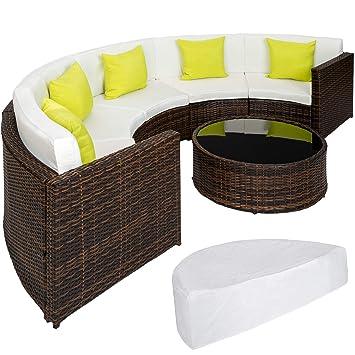 TecTake Ensemble Salon de Jardin demi cercle Poly Rotin Aluminium avec  Table incl. Housse de Protection - diverses couleurs au choix - (Marron  mixte | ...